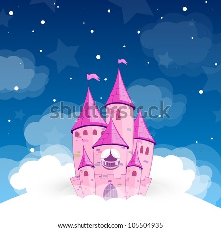 Vector illustration of a princess castle at night - stock vector