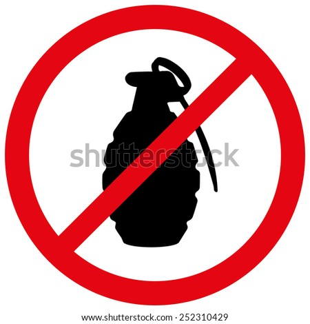 Vector illustration of a prohibition of grenade.