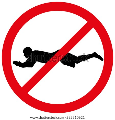 Vector illustration of a prohibition of swimming on white background.