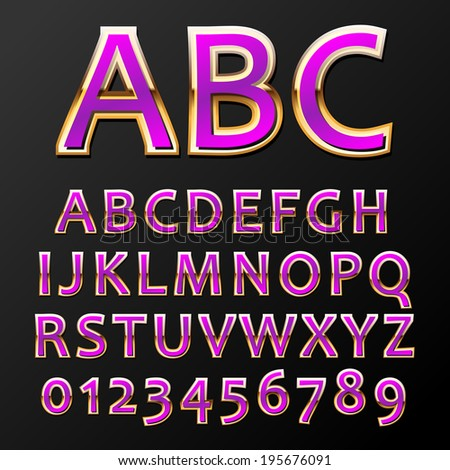 Vector illustration of a purple metal alphabet - stock vector