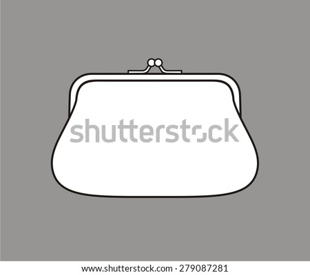 Vector illustration of a purse on grey background  - stock vector