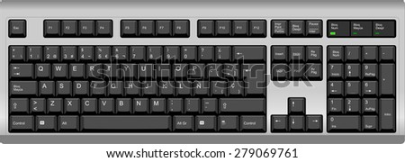 Vector illustration of a QWERTY SP layout spanish computer keyboard. All sections are well organized and sorted for designers convenience.