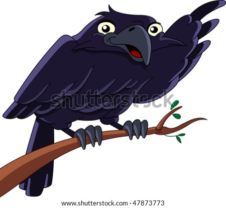 Vector illustration of a raven sitting on a branch and pointing with his wing - stock vector