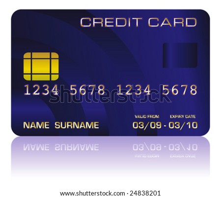 Vector illustration of a realistic blue credit card isolated on white - stock vector