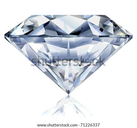 Vector illustration of a realistic diamond. No gradient mesh. - stock vector