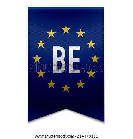 Vector illustration of a realistic EU flag with the country belgium - BE. - stock vector