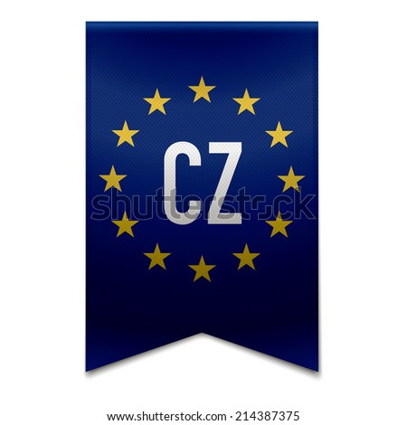 Vector illustration of a realistic EU flag with the country czech-republic - CZ. - stock vector