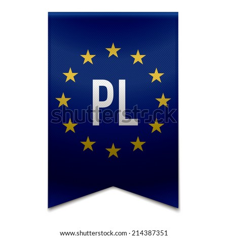 Vector illustration of a realistic EU flag with the country poland - PL. - stock vector