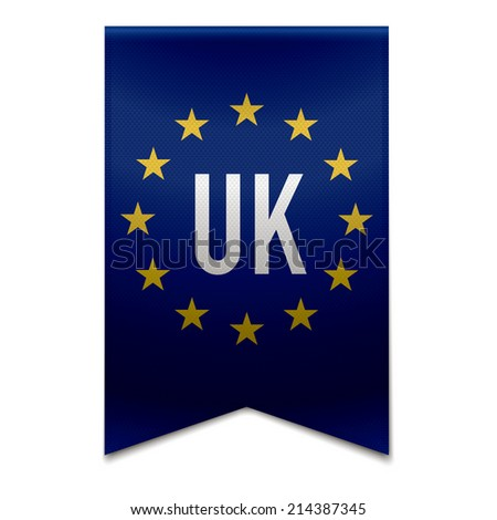 Vector illustration of a realistic EU flag with the country united-kingdom - UK. - stock vector