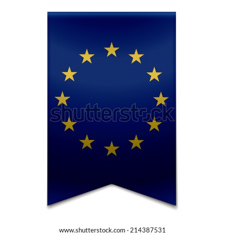 Vector illustration of a realistic european union flag EU - stars. - stock vector