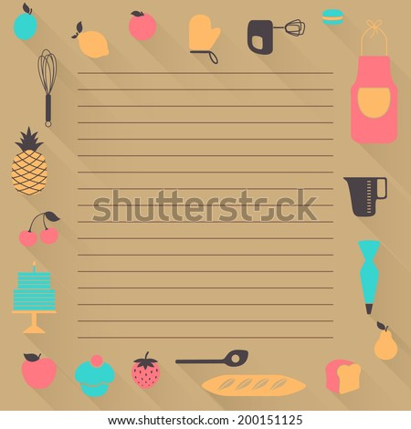 Vector Illustration of a Recipe Background - stock vector