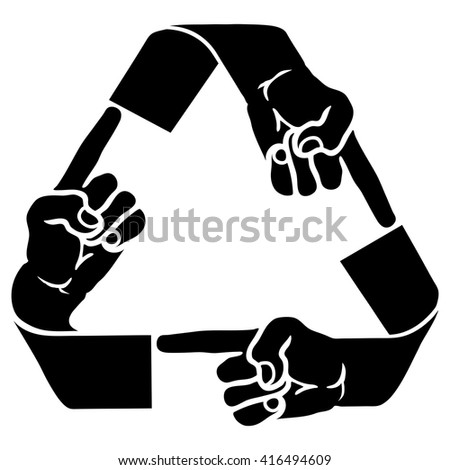 Vector illustration of a recycle symbol with human fingers pointing for the concept of karma. - stock vector
