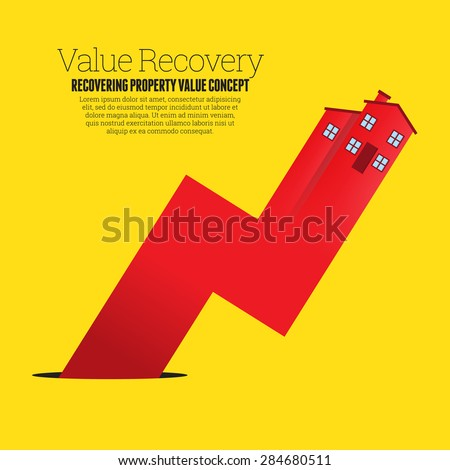Vector illustration of a red house arrow graphic rising up from a black pit hole. - stock vector