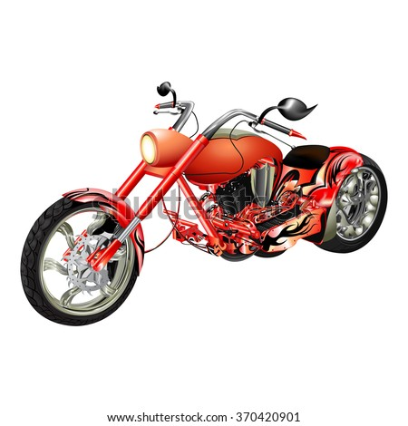 Vector illustration of a red motorcycle, chopper motorbike. Isolated object on a white background, can be used with any image or separately.