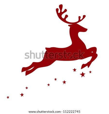 Vector illustration of a red reindeer isolated on white background - stock vector
