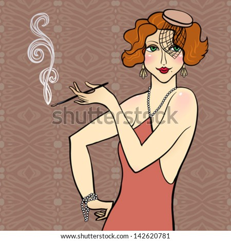 Vector illustration of a redhead flapper girl. Image for retro costume party invitation, vintage postcard or art deco poster, mafia game, jazz epoch, 1920s - 1930s theme, fashion & hair styles