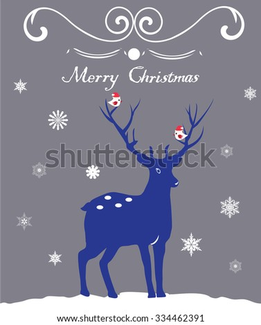 vector illustration of a reindeer Christmas card