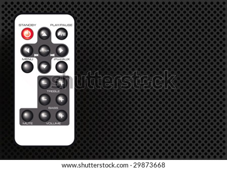 Vector illustration of a remote control on a metallic background - stock vector