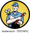 vector  illustration of a repairman or air conditioning  aircon a/c  serviceman holding an ac manifold gauge and pipe  wrench done in retro woodcut style set inside oval with sunburst - stock vector