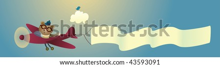 Vector illustration of a retro bear flying a plane. - stock vector