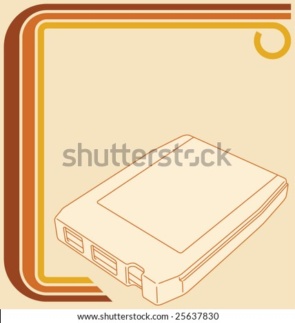 Vector illustration of a retro 70 border and an 8-track tape, with copy space. - stock vector