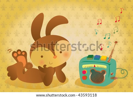 Vector illustration of a retro bunny listening to the radio. - stock vector