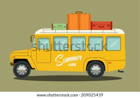Vector illustration of a retro bus - stock vector