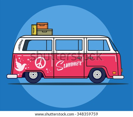 Vector illustration of a retro travel van in flat style. Hippie times. Isolated on background - stock vector