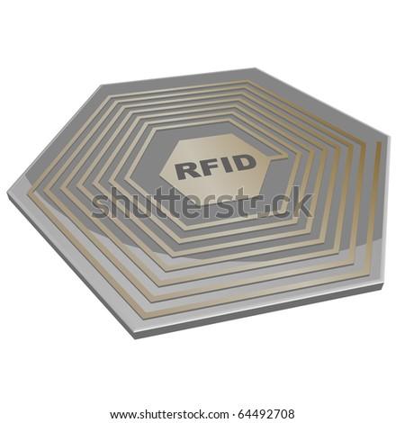 vector illustration of a rfid microchip - stock vector