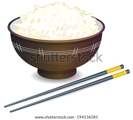 Vector illustration of a Rice Bowl and chopstick - stock vector