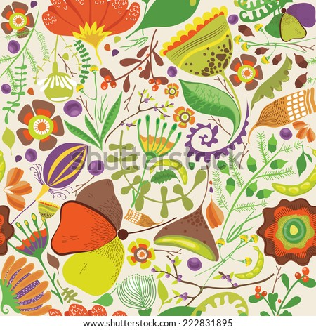 Vector illustration of a rich floral background with whimsical plants and flowers in bright cheerful colors - stock vector