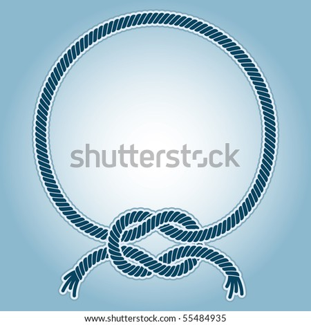 Vector illustration of a ring frame with with a sea knots. - stock vector