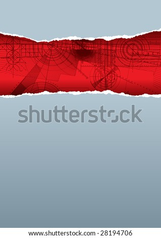 Vector illustration of a ripped paper with technical background, gray&red pattern. - stock vector