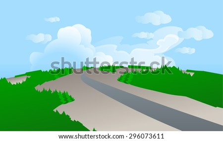 Vector illustration of a road from a bird's-eye view, aiming for a horizon in forest landscapes, with the blue sky and clouds in the background. Empty space leaves room for design elements or text.