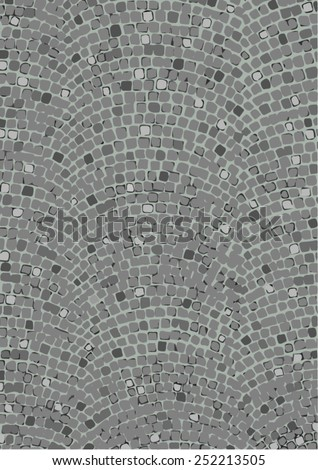 Vector illustration of a road paved with gray cobblestones, viewed from above.   - stock vector