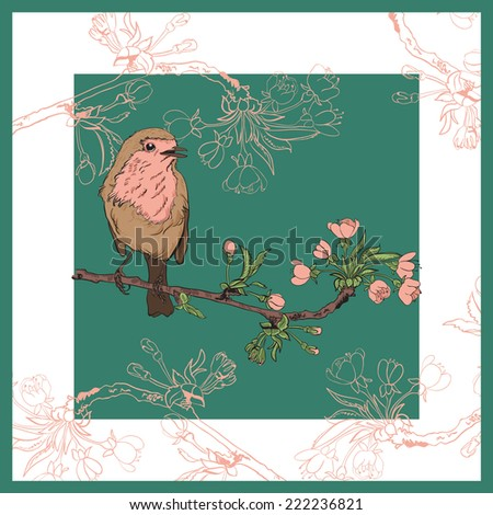 Vector illustration of a robin that sits on a branch of cherry that blooms - stock vector