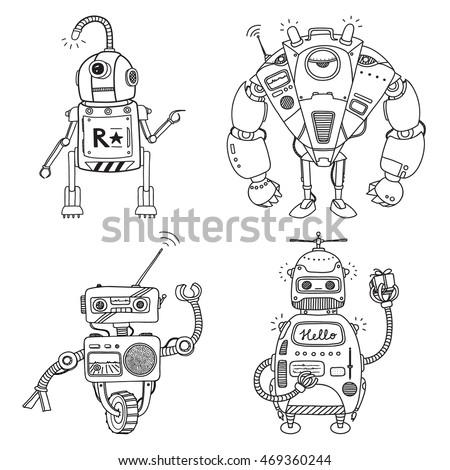 Vector Illustration Robot Mechanical Character Design Stock 469360244