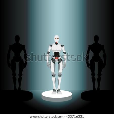 vector illustration of a robot on a pedestal in the spotlight - stock vector
