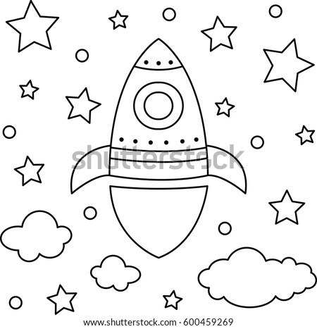 vector illustration of a rocket coloring page