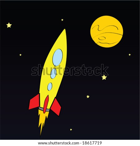 Vector illustration of a rocket ship in space - stock vector