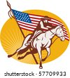 vector illustration of a Rodeo cowboy horse riding with  american stars and stripes flag in the background - stock photo