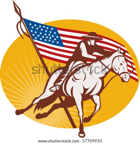 vector illustration of a Rodeo cowboy horse riding with  american stars and stripes flag in the background