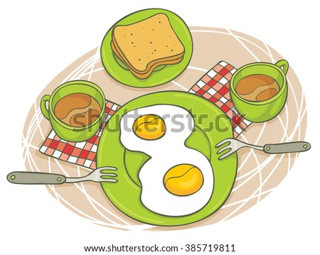 Vector illustration of a romantic breakfast for two