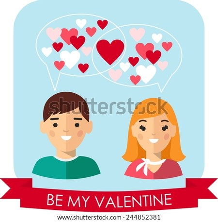 Vector illustration of a romantic people in love. Set of Valentine in love funny peoples icons.  - stock vector
