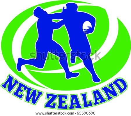 vector illustration of a rugby player being tackled fending off with ball and words new zealand