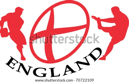 vector illustration of a rugby player passing kicking the ball side view set inside oval or ball with English flag and words England - stock vector