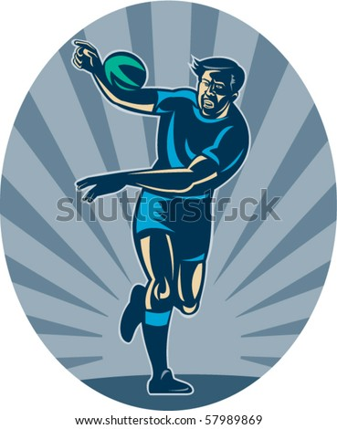 vector illustration of a Rugby player running with ball and passing