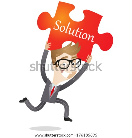 Vector illustration of a running cartoon businessman holding up a jigsaw piece saying 'solution' (JPEG version also available in my gallery).  - stock vector