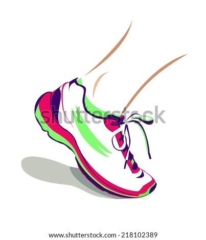 Vector illustration of a running shoe - stock vector