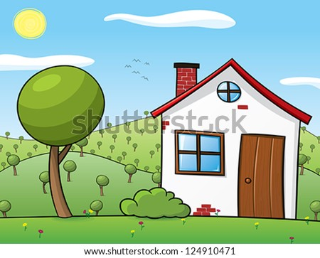 Vector illustration of a rural house and surroundings. - stock vector
